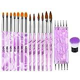 EBANKU 19 PCS Pinsel für Gelnägel, Nägel Pinsel NäGel Pinselset Professional Acryl Pinsel FüR NäGel Gel NäGel Malerei Zeichnen Werkzeuge Tragbar GelnäGel ZubehöR (Lila)