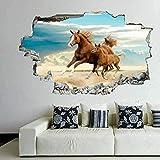 Abnehmbare Wandaufkleber Wandbild Stute und Pony 3D Kunst Wandaufkleber Wandbild Aufkleber Kinderzimmer Raumdekoration-50CMx70CM