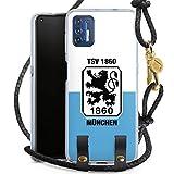 DeinDesign Carry Case kompatibel mit Motorola Moto 9G Plus Hülle mit Kordel aus Leder Handykette zum Umhängen schwarz Gold TSV 1860 München Offizielles Lizenzprodukt Wapp
