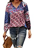CORAFRITZ Damen-Kleidung, schulterfrei, modische Bluse für Damen, langärmelig, lockere Oberteile, lässiges T-Shirt, Blumendruck, Bauernbluse Gr. 40, violett