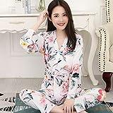 DAOD Sexy Frauen Pyjamas,Bequeme Sexy Pjs Zweiteilige Nachtwäsche Soft Set Cardigan V-Ausschnitt Frischer Kimono Japanischer Stil Blumen Drucken Weißes Nachtkleid, Home Service Anzug Geschenk Für Da