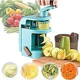 Gemüseschneider, handlicher Spiralschneider, Gemüsehobel, Gemüse-Zerkleinerer mit Behälter, Küchenhobel, leicht zu reinigen, mit starkem Saugboden, geeignet für Obst, V