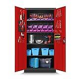 Werkzeugschrank TC01A Werkstattschrank Garagenschrank Universalschrank Lagerschrank Pulverbeschichtet Flügeltüren Stahlblech 185 cm x 92 cm x 50 cm (anthrazit/rot)