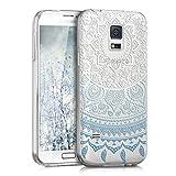 kwmobile Case kompatibel mit Samsung Galaxy S5 Mini G800 - Hülle Silikon transparent Indische Sonne Blau Weiß Transparent