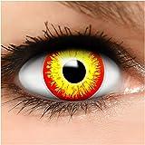 Farbige Kontaktlinsen Horror Clown in rot gelb + Behälter - Top Linsenfinder Markenqualität, 1Paar (2 Stück)