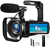Camcorder Videokamera Full HD 1080P 30FPS IR Nachtsicht Vlogging Kamera für YouTube Camcorder Videokamera mit Mikrofon und Handstabilisator