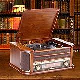 Chenbz Retro Vinyl Holz Gramophone Maschine Multifunktions-USB-Wiedergabe SD-Karte Altes Radio Antique Radio Player-Verzierung 510X350X210mm Empfindliche schön