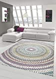 Teppich modern Wohnzimmer Teppich Regenbogen Pastellfarben Größe 160x230 cm