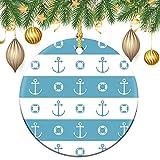 by Unbranded Keramik-Weihnachtsbaum-Ornament, Sammlerstück für Urlaub, Andenken, rund, in dekorativer Schriftart, türkis, blaugrüne Linie, Zahlensymbol, rundes Andenken