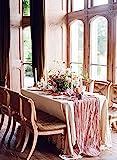 Greenerwil Tischläufer Gaze Seihtuch Läufer Event Party Supplies Material Stoff Dekoration für Hochzeit Geburtstag Braut romantisch rustikal Tischdekoration handgefertigt 144 in/ 366 cm Dusty Rose