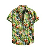 AILIEEE Hemden Herren Kurzarm Hemd Herren Hawaii Hemd Männer Freizeithemden Sommermode Casual T-Shirt Blumenhemd Palmblatt-Druck Sommerhemd Trachtenhemd(#505 Gelb,S)