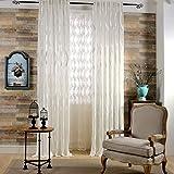 L/S Vorhang Transparent Weiß ösen 140x260 Wellenmuster Tüll Vorhänge Durchsichtig 2 Stück Fensterschal Gardinen für Schlafzimmer Wohnzimmer