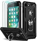 ivoler für iPhone 8 / iPhone 7 / iPhone 6s / iPhone 6 Hülle mit [Panzerglas Schutzfolie *3], Stoßfest Handyhülle Anti-Kratzer Schutzhülle Case Cover mit 360 Grad Ring Halter, Schwarz
