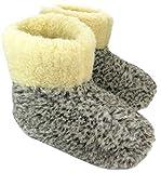 Estro Herren Damen Hausschuhe Reine Wollhausschuhe - Hüttenschuhe Stiefel Warm Winter Wolle Warme Winterhausschuhe Schafswolle Mit Fell Schafwolle OLE (40 EU, Grau)