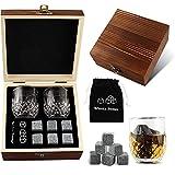 Whiskyglas 2er-Set-Whisky Stones Geschenkset, 6 Eissteine Und 2 * Whiskygläser- Whisky Stein Set-Bourbon kaufen Für Männer Papa Zum Geburtstag Vatertag, Geschenk Box Aus Holz