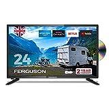 Ferguson 12 Volt F2420RTSF-12V 61 cm (24 Zoll) Smart LED TV/DVD Download Apps Netflix, Schwarz