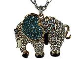 Halskette Kette Straß Straßsteine Stein Elefant Glück Rüssel Afrika Steppe 1442
