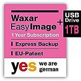 Waxar EasyImage-1000 Bundle, High-End Backup Software inklusive Speicher 1TB, läuft sofort ohne Installation, kompatibel mit Windows | Mac | Linux, Server-Edition, 1 Gerät, 1 Year Subscription, DE