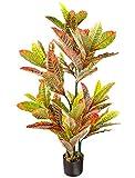 Decovego Künstlicher Kroton Wunderstrauch Codiaeum Kunstpflanze Künstliche Pflanze mit Topf 110cm