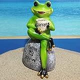 CLLX Gartenfigur Aus, Frosch Dekorative Skulptur, Niedliche Frosch-Figuren, Ornament,Für Hof, Terrasse, Garten, Innen- Und Außenbereich,Off W