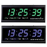 480x190x30mm DC 5V LED Digital Wanduhr, 12/24 Stunden Modus Digitale Kalenderuhr Seniorenuhr mit Datumanzeige & Temperaturanzeige für Büro Wohnzimmer (grün)