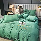 Bettbezug 135 X 200,Tencel vierteilige Anzug, Sommerlicht Luxus Einzelbett Einzelbett Single, bestickte Seide weiche und atmungsaktive Bettbezug Bettwäsche mit Kissenbezug Bettwäsche-Bettdecke_EIN_2.