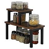 OROPY Set mit 2 Stapelbaren Küchenregale auf Arbeitsplatten, Regaleinsatz im Küchenschrank, freistehender Desktop Organizer, für Küchenutensilien, Gewürzdosen und Badezimmerzubehör-Rustikal Braun