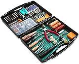 273 Stück Leder Arbeit Handwerk Werkzeuge und Zubehör, Leder Werkzeuge Set mit Werkzeug Box Schneiden Matte Hammer Stampfen Werkzeuge Nadeln und Nieten Kit Perfekt für Leder Nähen Schneiden DIY