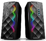 Gaming PC Lautsprecher,2.0 Computer Lautsprecher mit 6 farbenfrohen RGB Lichtern, kabelgebundener USB gestützter 3,5mm Aux und Bluetooth 5.0 Anschluss,verbesserter Stereo Audio Lautsprecher