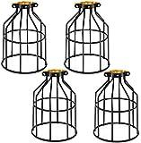 4x Vintage Käfig Draht Lampenschirm, Kohree Retro Industrielle Cage Metall Lampenschirm,Schwarz Metallkorb Käfig Decke Pendelleuchte Schatten für Hängeleuchte/Lampenhalter Deckenvent