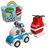 LEGO 10957 DUPLO Mein erster Feuerwehrhubschrauber und Mein erstes Polizeiauto für 1,5-jährige Jungen & Mädchen, Mein erstes Bauset