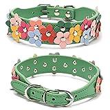 Hundehalsband, PU-Leder, doppelreihig, verstellbar, bunt, für kleine und mittelgroße Hunde, Größe S