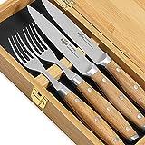 """Steakchamp Premium Steakbesteck """"4 Musketeer"""", Klingen aus hochwertiger Stahllegierung X50CrMoV15 (Klingenstahl 4116), 2 Steakmesser und 2 Steakgabeln in schöner Geschenkbox, Holz, 20cm"""