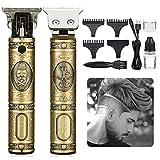 Elektrischer Haarschneider für Männer, GLAMADOR Blonder Barttrimmer & Haarschneider, Barthaarschneider-Rasierer, Präzisionstrimmer, Tragbarer USB-Lade-Rasierapparat, mit 2 Kämme, Geschenk für Männer