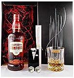 Geschenk Southern Comfort Whiskey Likör + Glas + 2 Whisky Kühlsteine