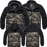 Brandit Teddyfleece Jackson Jacke + Kapuze Winterjacke Jagd Outdoor Fleecejacke, Größe:XL, Farbe:Schwarz-Darkcamo