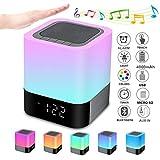 Bluetooth Lautsprecher mit Licht Nachttischlampe Touch Dimmbar Wecker Nachtlicht RGB Farbwechsel LED Tragbarer Bluetooth Lautsprecher Stimmungslicht Tischlampe Geschenke für Mädchen Kinder Teenag