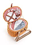 Picknickkorb 2 Personen mit Kühlfach aus Weide - 15 TLG. - Hochwertiger Weidenholz Picknickkorb mit Deckel, Geschirr Set & Kühlfach für das perfekte Essen zu zweit - Rot Weiß gestreift