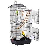 Yaheetech Vogelkäfig mit Vogelspielzeuge Käfigspielzeug Wellensittichkäfig Nymphensittiche Fink-Papageien-Käfig mit Vogeltrepp