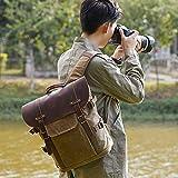 LG Snow Doppelte Schulterkameratasche SLR-Kameratasche Freizeitreisetasche Batik Leinwand Retro-Mode Digitalkamera Rucksack (Color : Khaki)