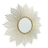 CasaJame Sonnenspiegel Gold rund mit Metallrahmen, Wandspiegel Sonne, Mediterran, Wandobjekt Vintage, Antik 50