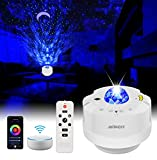 LED Sternenhimmel Projektor Alexa, WiFi Smart 360° Wasserwelle Galaxy Projektor Lampe mit Timer/Sprachsteuerung/Fernbedienung für Baby, Kinder, Tiefschlaf, Schlafzimmerparty Weihnachten Ostern-Schlaf
