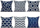 TIDWIACE® Navy blau Kissenbezüge Baumwolle und Leinen Kissenhüllen mit Geometrischen Mustern für Sofa Haus Zimmer Auto Deko Zierkissenbezüge 45 x 45 cm,6 er Pac