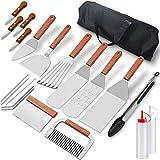 Home Safety Grillbesteck Set - 20-TLG Grillspachtel Set Werkzeugset, Profi BBQ Zubehör Grillwender aus Edelstahl mit mit Quetschflaschen und Tragetasche für Grillen im Freien, Teppanyaki, Camping