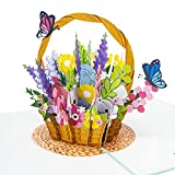 LIMAH® Pop-Up 3D Grußkarte/ PopUp 3D Blumen-korb-Karte für dich zum Geburtstag, Muttertag, Valentinstag, Hochzeit für Sie /Blumenkorb mit Schmetterlingen Motiv/in Türkis