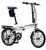 Licorne Bike CONSERES Premium Faltrad, Klapprad in 20 Zoll - Fahrrad für Herren, Jungen, Mädchen und Damen - 6 Gang-Schaltung - Hollandfahrrad - Weiß/Schwarz