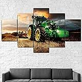 QQWW Bilder Traktor-Rasenmacht-Landwirtschaft Vlies Leinwandbild 5 TLG Kunstdruck modern Wandbilder XXL Wanddekoration Design Wand Bild (Mit Rahmen)