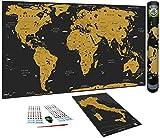 WIDETA XXL Weltkarte zum Rubbeln in italienischer Sprache (82x43cm) / Extra ausgegebenes Papier 300g/m² und laminiert mit Schutzfolie / Bonus Karte Italien y Zubehör