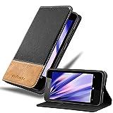 Cadorabo Hülle für Nokia Lumia 630 in SCHWARZ BRAUN – Handyhülle mit Magnetverschluss, Standfunktion und Kartenfach – Case Cover Schutzhülle Etui Tasche Book Klapp Style