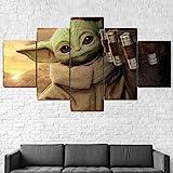 QQWW Baby Yoda der Mandalorianer Leinwandbild XXL Wandbilder Wohnzimmer Wohnung Deko Kunstdrucke 5 Teilig Wandbild 50x25cm Vlies Leinwand Bild Hd Gedruckt Wandkunst